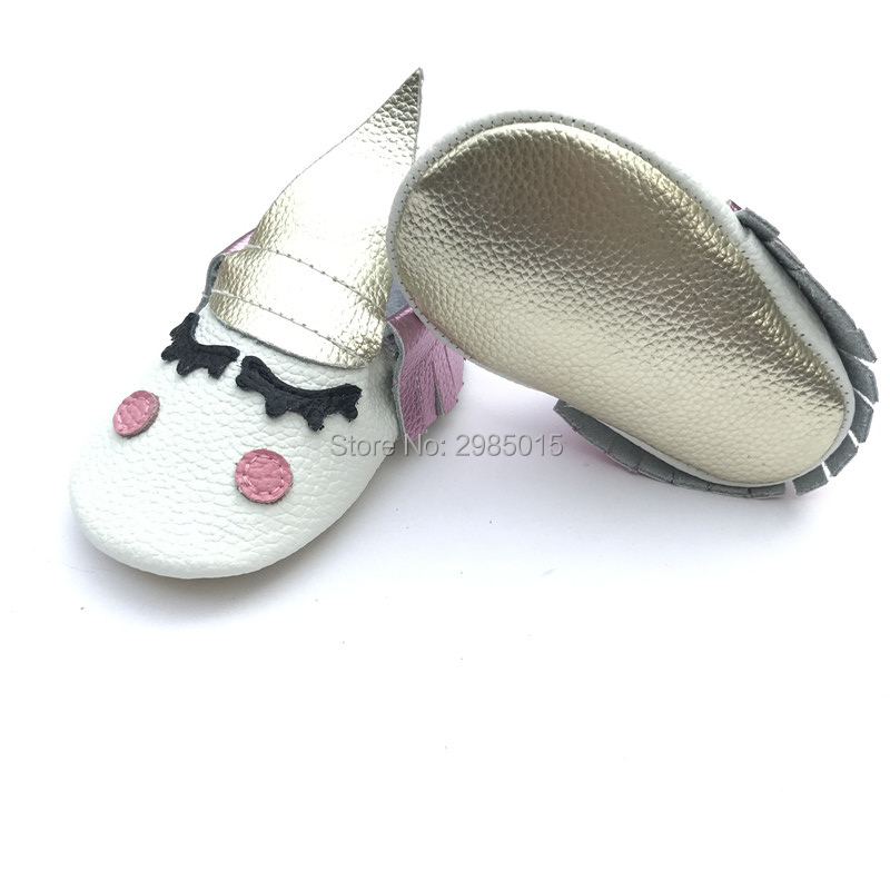 High Quality Fancy unique 100% genuine leather newborn baby boy and girls party moccasins Blush golden angle Unicorn Baby shoes