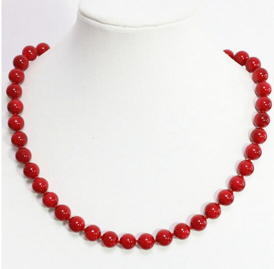 Fashion girl >New fashion red artificial coral necklace for women 8,10, 12,14mm round pearl shell necklace women 18 inch image