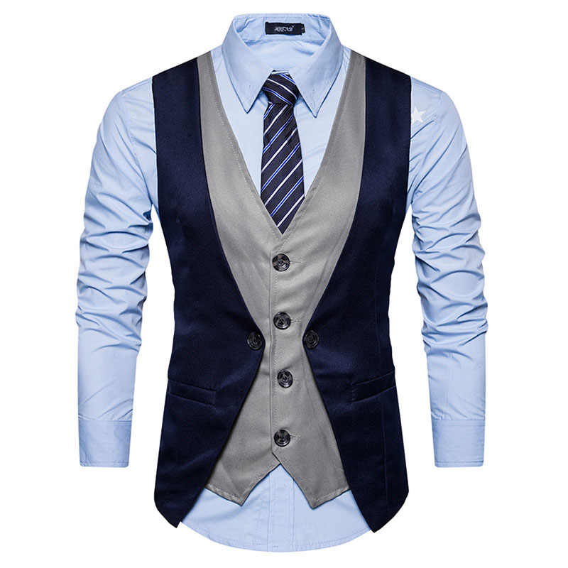 Fake Two Pieces Men Suit Vest Chaleco Hombre 2017 Brand New Men Waistcoat Gilet Homme Costume Casual Slim Fit Mens Classic Vest