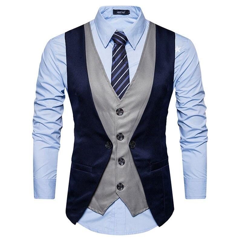 Fake Two Pieces Men Suit Vest Chaleco Hombre 2017 Brand New Men Waistcoat Gilet Homme Costume Casual Slim Fit Mens Classic Vest