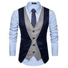 Suit Vest Gilet Mens Classic Casual Fake Two-Pieces Costume Slim-Fit Chaleco Homme Hombre