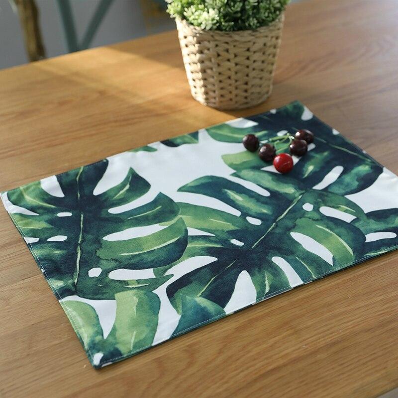 32x45 Cm Groene Tropische Plant Placemat Polyester & Katoen Diner Placemats Achtergrond Doek Kom Plaat Pad Onderzetters
