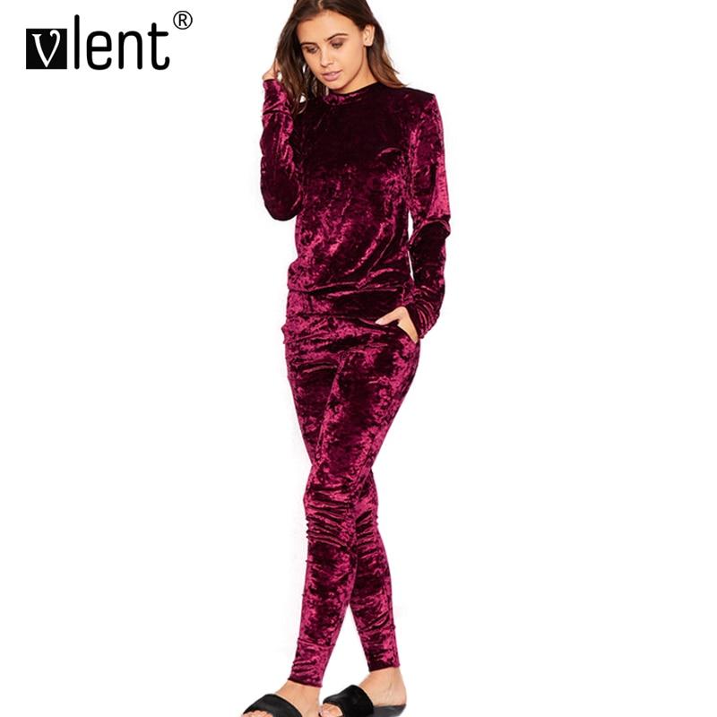 Vlent Ladies Gold Velvet Loungesuit Crushed 2 Two Piece Set Runway Fashion Velour Hoodies Tracksuit Trainingspak Pink Women Suit(China (Mainland))