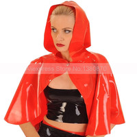 Sexy Female Red Latex Cape with Hood Cap Rubber Latex Short Jacket Coat Catsuit Shirt Blazer S LSW029