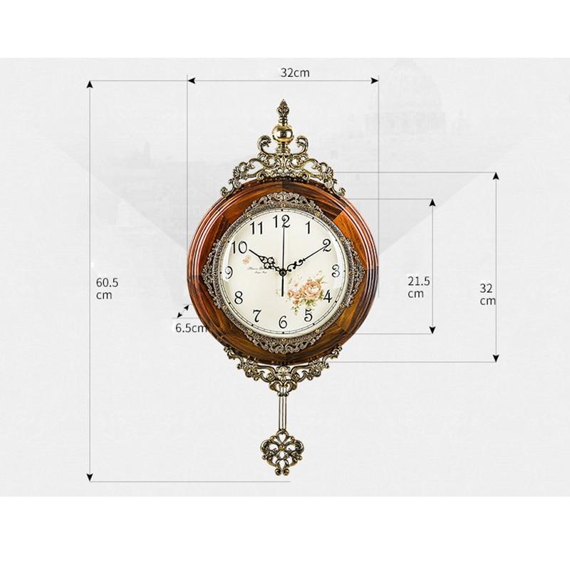 OUYUN Eropa Antik Kayu Jam Dinding Pendulum Decor Diam Gerakan Kuarsa - Dekorasi rumah - Foto 5