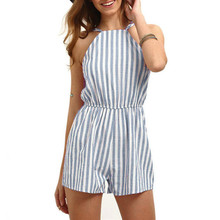 Playsuit Women Summer Holiday Sleeveless Strap Striped High Waisted Beach Jumpsuit Rompers Top