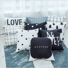 Nordic black and white pillowcase cushion case English letters for car decoration office cute pillow