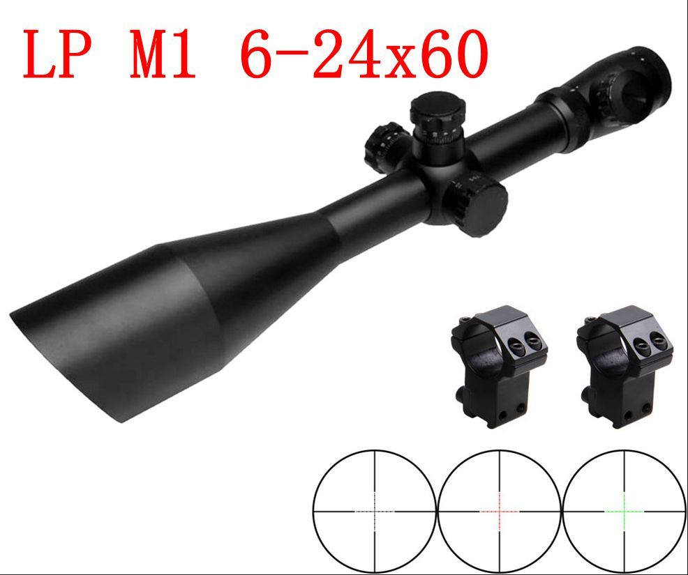 M1 6-24X60 SFIRG Hunting Rifle Scopes Free Riflescopes 11mm / 20mm Ring Mount With Bevel Shading For Airsoft Hunting