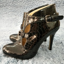 Women Stiletto Thin High Heel Ankle Boots Round Toe Buckle Black Snakeskin Patent Fashion Evening Party Lady Bootie 0640CBT-r цена 2017