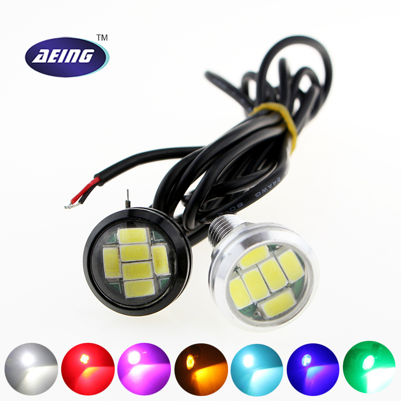 Auto LED Lichter 12V 23MM 6SMD LED Multicolor Eagle Eyes Lichter Aluminium Reverse Parking Nebelscheinwerfer Licht Tagfahrlicht DRL