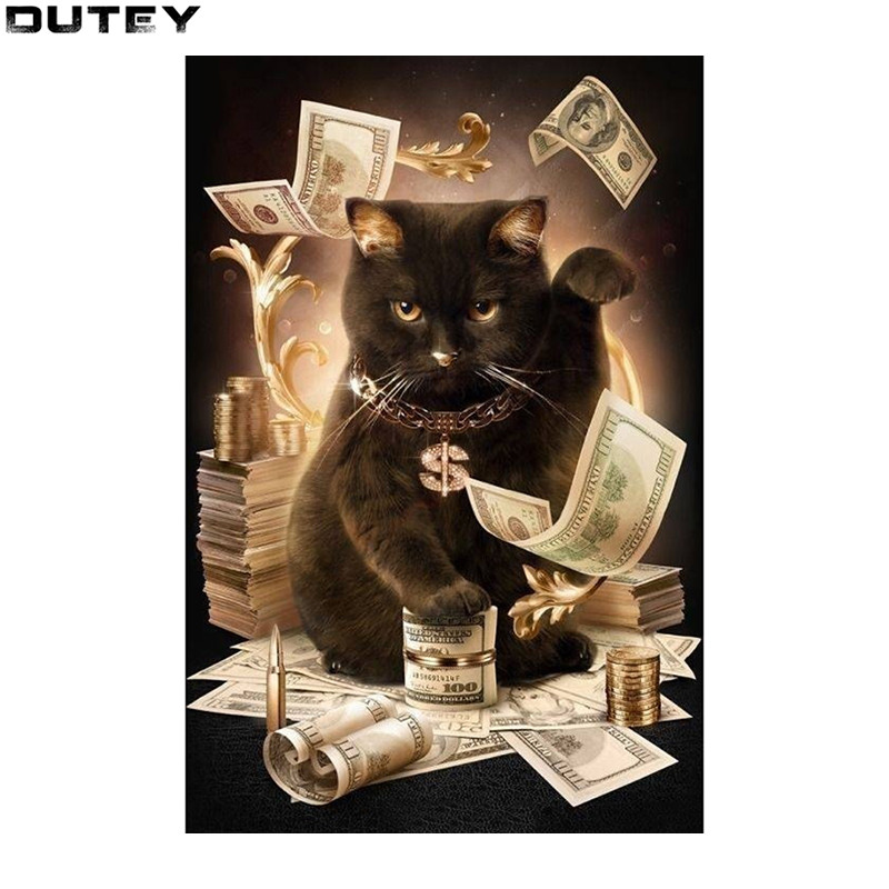 Diamond Embroidery Cat With Cash Pattern DIY 5D Diamond Painting Needlework Cross Stitch Full Drill Rhinestones Painting