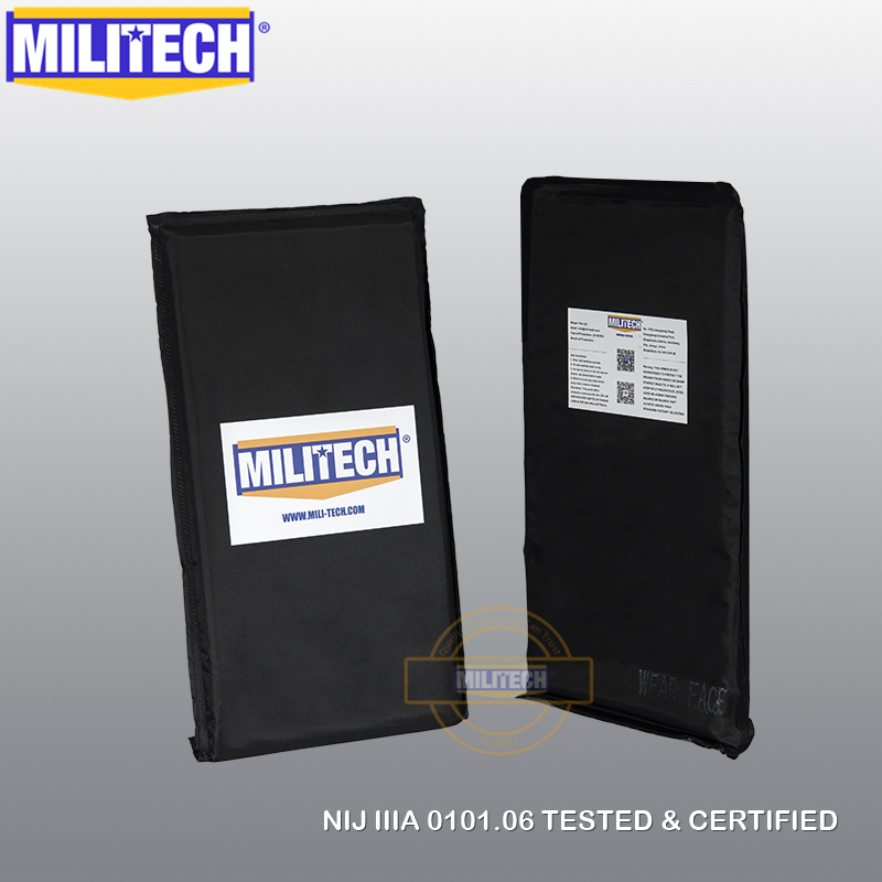 MILITECH 6'' X 12'' NIJ IIIA 0101.06 & NIJ 0101.07 HG2 Pair Set Aramid Soft Ballistic Panel BulletProof Plate Inserts Body Armor