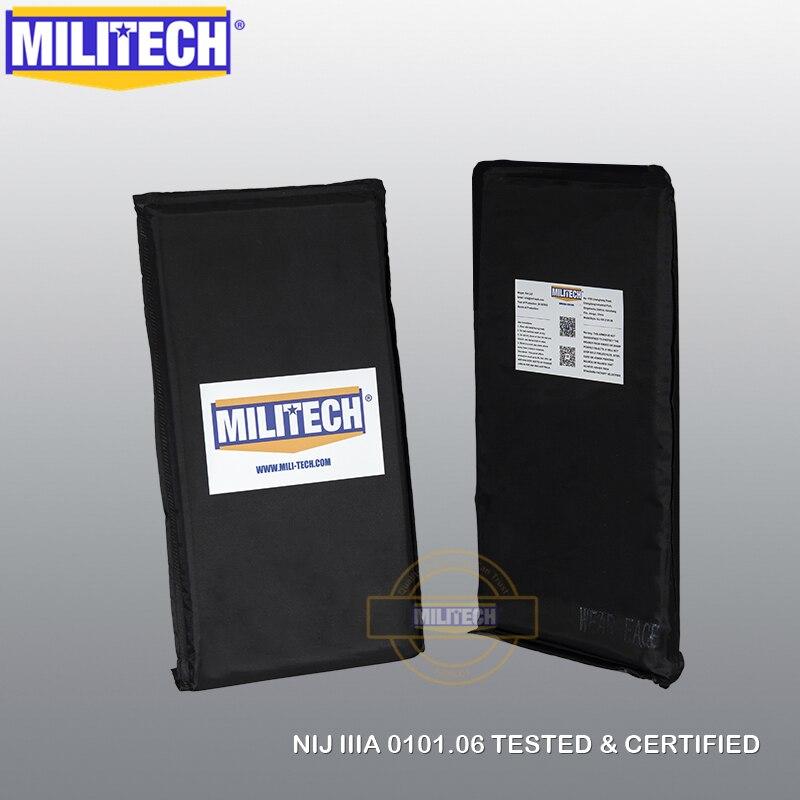 MILITECH 6'' X 12'' Pair Aramid Ballistic Panel Bullet Proof Plate Inserts Body Armor Cummerbund Plate Backer NIJ Lvl IIIA 3A