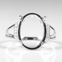 Solid 14k White Gold Natural Diamonds Engagement Ring 14x10.5mm Oval Cabochon Wedding Fine Jewelry