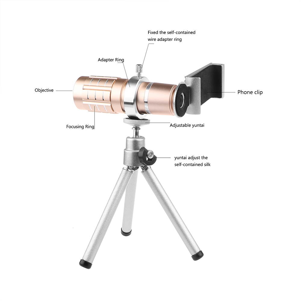 Image 2 - Aluminum 12X Telephoto Telescope Phone Camera Zoom Lens With Tripod Universal Clip For Smartphone Mobile Telescopica Lenses-in Mobile Phone Lens from Cellphones & Telecommunications