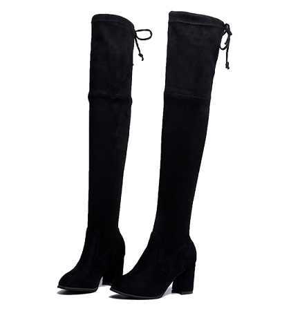 2018 Plus ขนาดลำลองผู้หญิงต้นขาสูงฤดูหนาวหญิง Faux Suede กว่าเข่ารองเท้าผู้หญิงรองเท้าส้นสูงรองเท้า Drop การจัดส่ง