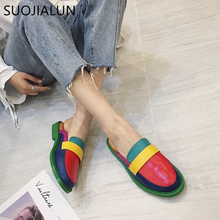 SUOJIALUN 2019 Fahion Brand Women Mules Slipper Mix Color British Shoes Platform Sandals Casual Slip On Slides