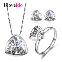 Uloveido Jewelry Sets Silver 925 Jewelry Wedding Decorations Jewellery Triangle Ring Earrings Necklace Set With Box