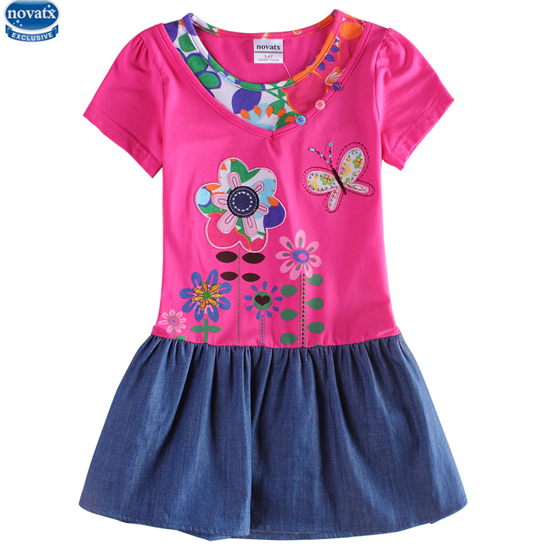 novatx H6063D baby girls summer short sleeve dress stylish design with floral embroidery girls dress baby girls wear hot top plus size floral embroidery tee dress with pockets