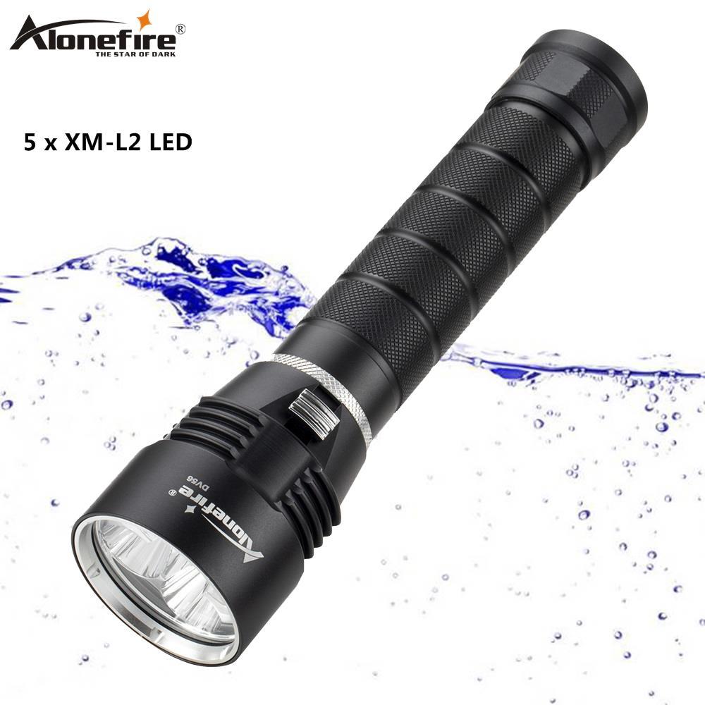 AloneFire DV56 15000 Lums lampe de poche de plongée 5 x L2 lampe de torche LED de plongée 200 M lumière sous-marine étanche Flash lanterne lumière