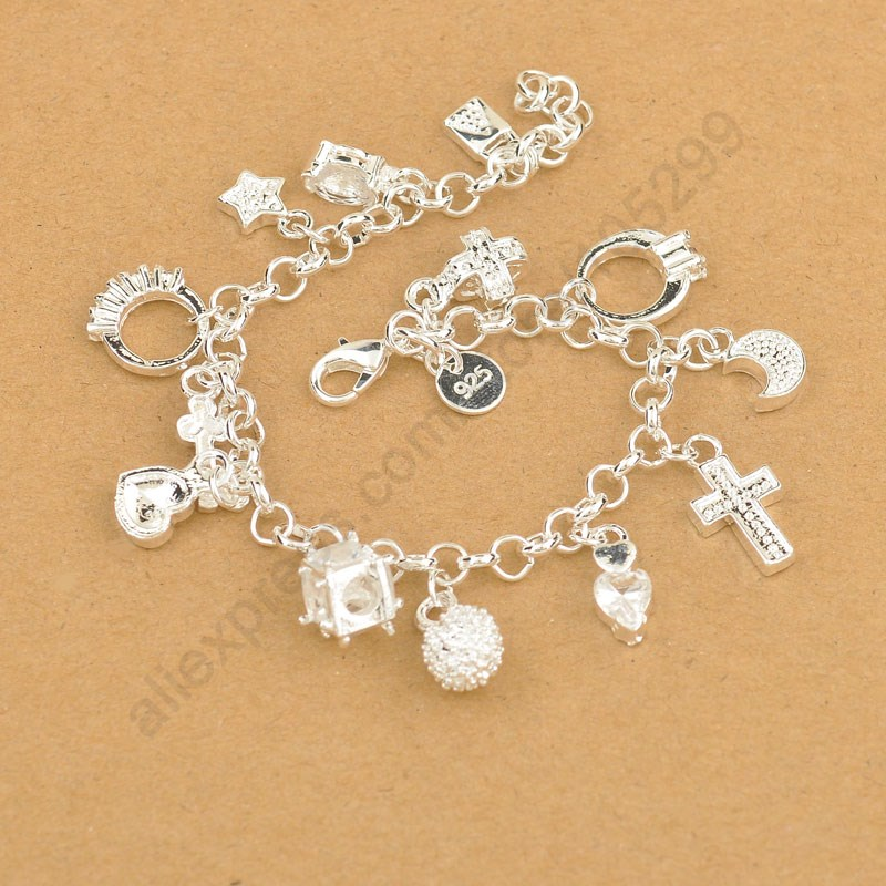 Exquisite Top Quality 925 Sterling Silver Charm Pendants Woman Bracelet Nice Cross Moon Heart Clock Pendant