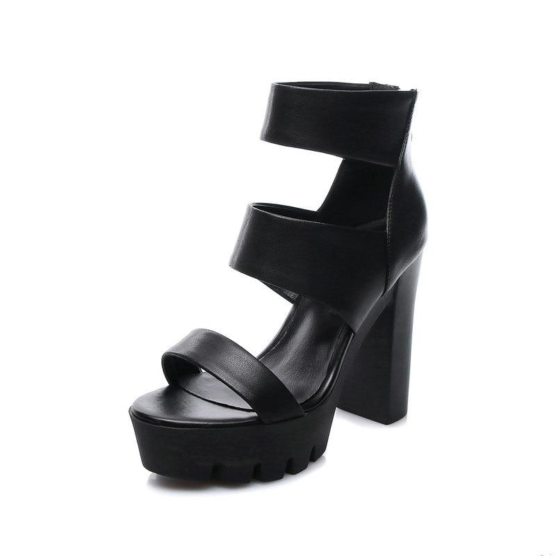 Robe Zipper Noir Ouvert Cuir Femme Chaussures De Mode forme blanc Sandales D'été Plate Bout À Épais Hauts Véritable Retour En Talons BWderxoC