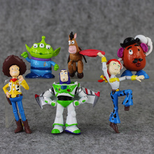 6pcs lot 5 10cm font b Toy b font story Jessie Woody and Buzz Lightyear alien