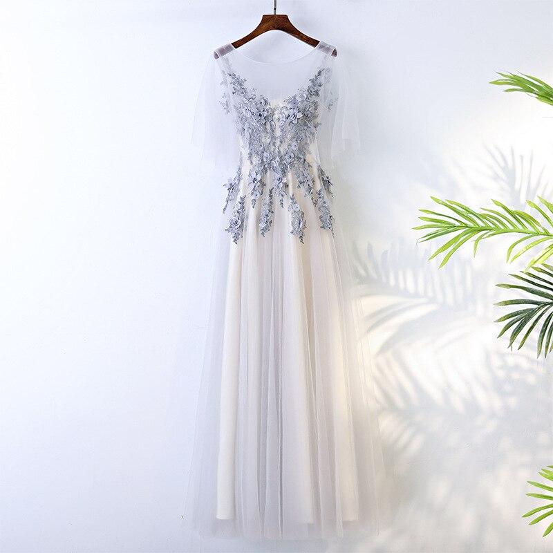 >Sexy Evening Dress 2019 V-Neck Beads Open Back A Line Long Evening Dresses Party Vestido De Festa <font><b>High</b></font> <font><b>Split</b></font> <font><b>Tulle</b></font> Prom Gowns