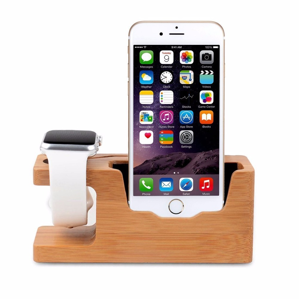 Soporte de cargador de base de bambú 2in1 Base de bambú Soporte de cargador de base para Apple Watch iWatch iPhone 11 pro x MAX