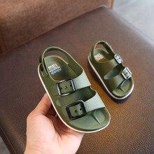 Летние кожаные сандалии для мальчика, детская пляжная обувь на плоской подошве, детские спортивные мягкие Нескользящие повседневные сандалии для малышей 1-5 лет