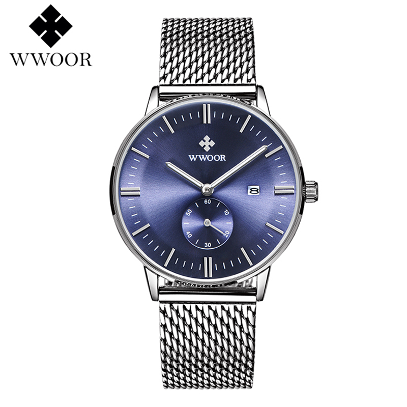 WWOOR Mens Watches Top Brand Luxury Men Quartz Wrist Watch Date Clock Silver Steel Mesh Strap Waterproof Sports Wristwatch