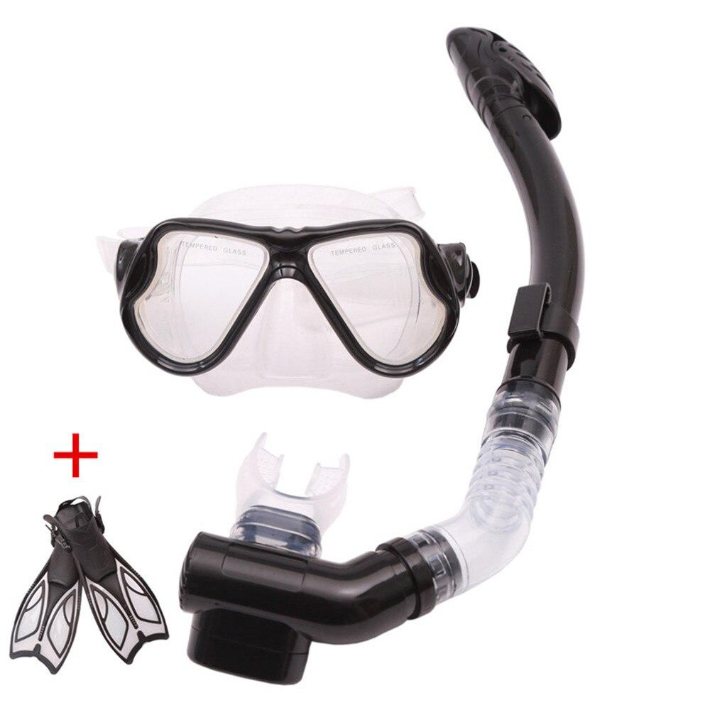 Adulte 3 pcs de kit de plongée masque masques palmes de plongée ensemble Silicone Plongée Équipement de plongée en apnée palmes équipement de natation