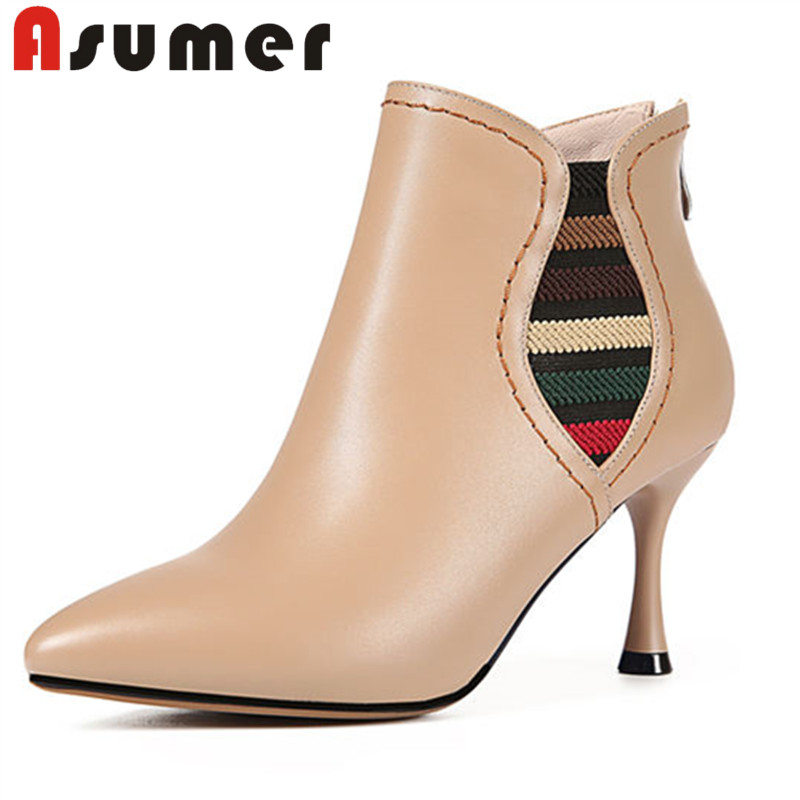 ASUMER NEW 2018 popular mixed colors genuine leather boots pointed toe zip ankle boots for women thin heels winter fashion bootsASUMER NEW 2018 popular mixed colors genuine leather boots pointed toe zip ankle boots for women thin heels winter fashion boots