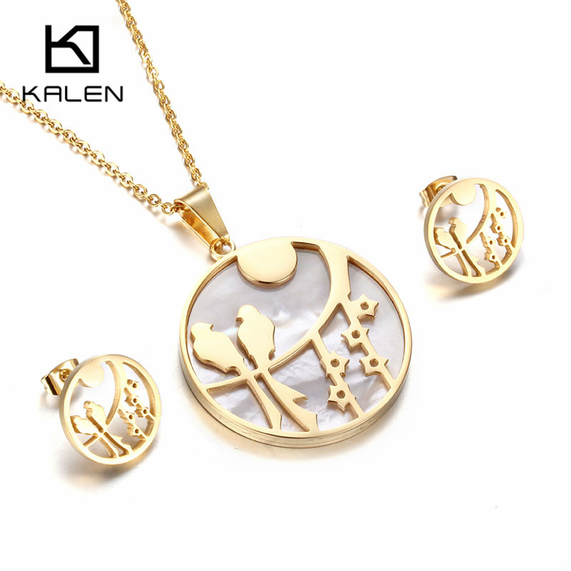 Kalen new women jewelry set shell stainless steel italian gold kalen new women jewelry set shell stainless steel italian gold color birds on tree pendant necklace earrings set gift 2017 in jewelry sets from jewelry aloadofball Image collections