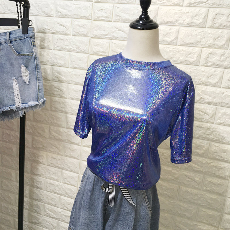 Daddy Chen Glitter T Shirt Loose Femme Bling Tops for Women Short Sleeve O Neck Clubwear Fashion High Street Roupas Feminina 8