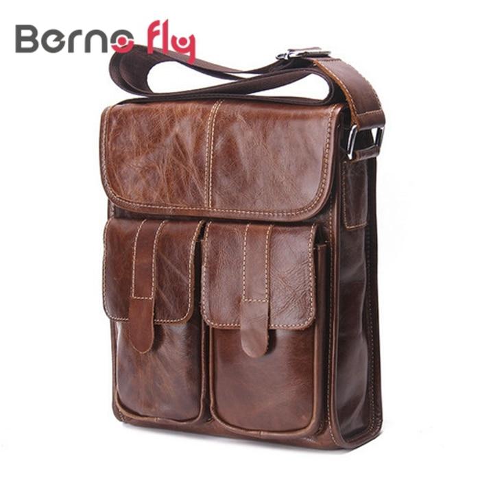 New Genuine Leather Men Messenger Bags Brand Designer Briefcase bags Fashion Vintage Men Shoulder crossbody Bags