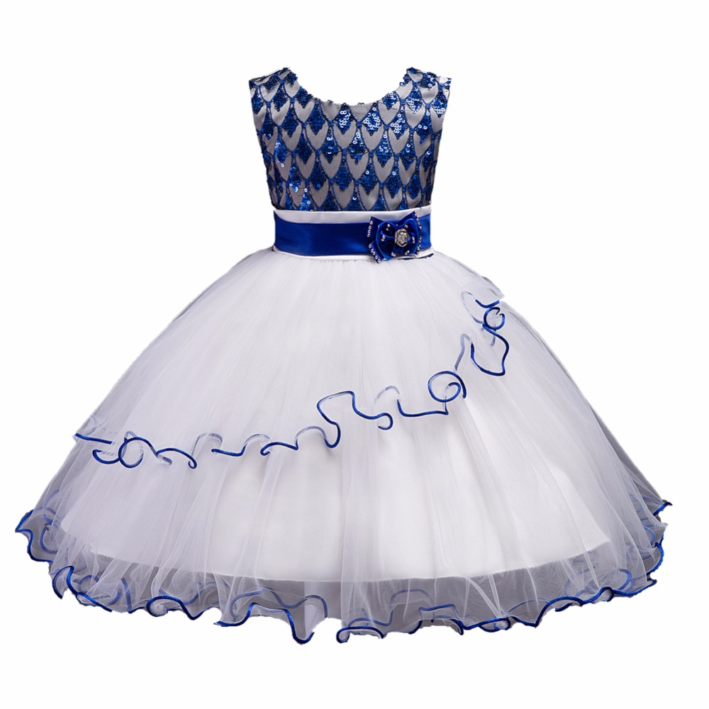 2018 new Sequined Girls Princess Dresses Kids Girls Party Christmas Cosplay Dresses Costume Children Girl Clothing for 12 years summer girls snow white princess dresses kids girls halloween party christmas cosplay dresses costume children girl clothing