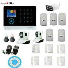 SmartYIBA Заводская распродажа домашняя охранная беспроводная GSM сигнализация+ беспроводной PIR датчик+ датчик двери+ наружная/Внутренняя ip-камера