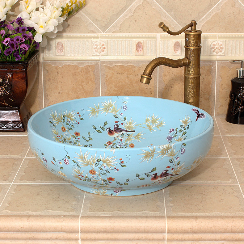 Bathroom Vessel Sinks Round Counter Top Patterned Aliexpress China Painting Flowers And Birds Ceramic