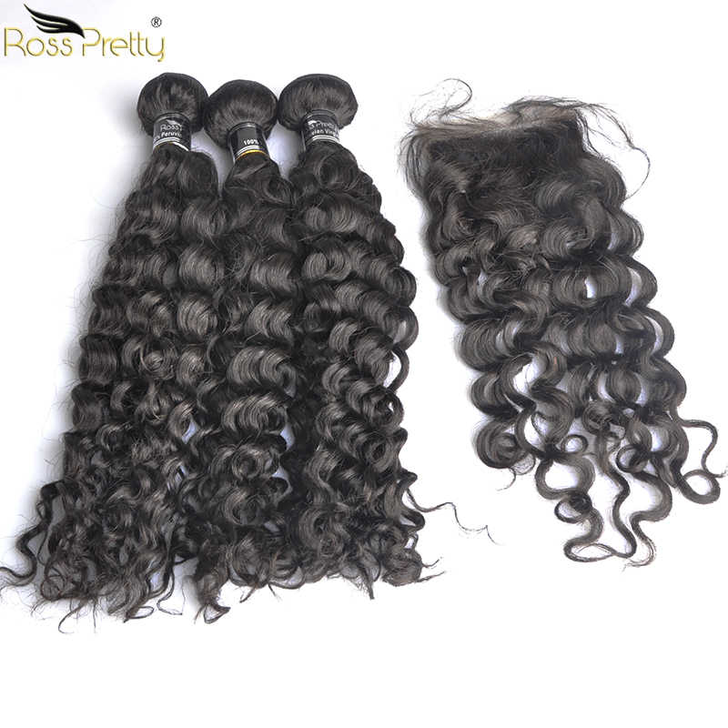 Remy Italy Curly Hair Bundles With Closure Baby Hair Swiss lace Pre Plucked Human Hair Weave Ross Pretty Hair 3pcs with closure