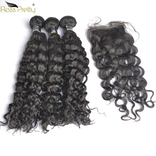 Remy Italy Curly Hair Bundles With Closure Baby Swiss lace Pre Plucked Human Weave Ross Pretty 3pcs with closure