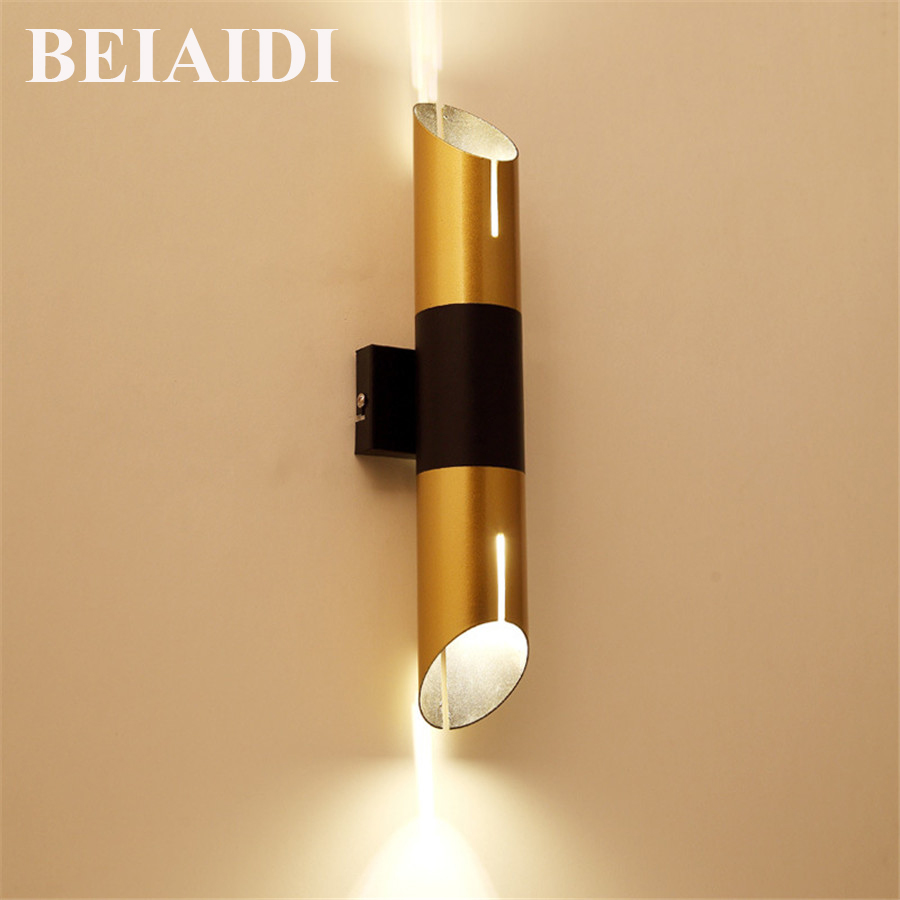 BEIAIDI Creative Bamboo Shape LED Wall Lamp Modern Cafe Bar Dinning Room Bedroom Bedside Wall Light Up Down Iron Wall Sconces Wall Lamps     -