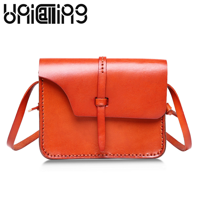 8cdf53e27f62 Genuine Leather women messenger bags Vegetable tanned leather small shoulder  bags Retro Fashion mini Cow Leather bags women