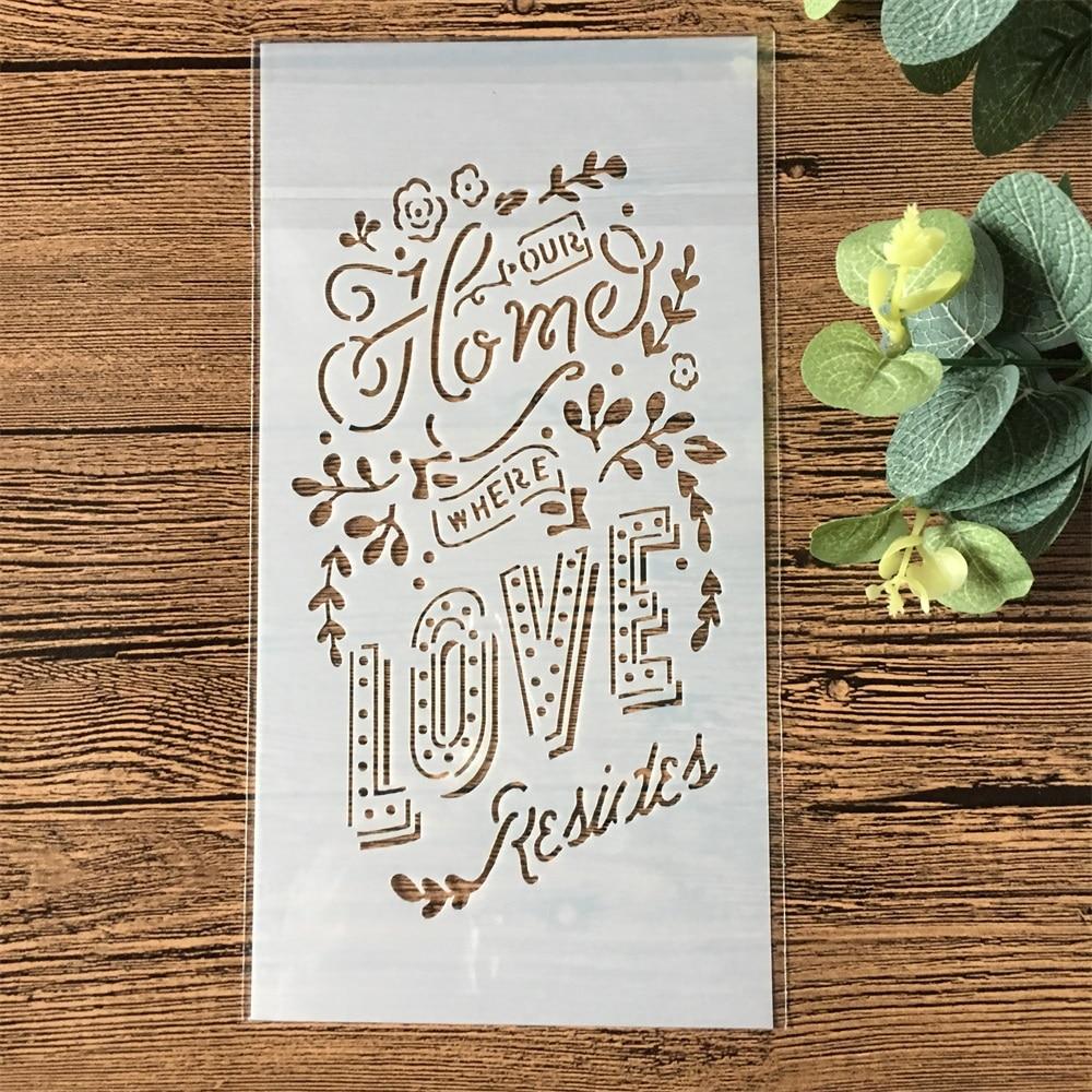 1Pcs 23*12cm Love Letters Flower DIY Layering Stencils Wall Painting Scrapbook Coloring Embossing Album Decorative Template