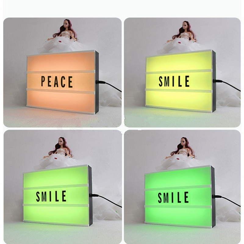 FENGLAIYI A4 RGB Led Cinematic Lightbox DIY Led Night Lamp with DIY 90 PCS Letters Cards Home Party Valentine's Day Decoration good group diy kit led display include p8 smd3in1 30pcs led modules 1 pcs rgb led controller 4 pcs led power supply