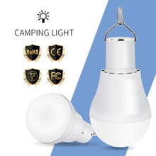 Portable LED Solar Light 15W Solar Charging Outdoor Lighting Lamp 250 Lumens No Flicker Hanging Hook LED Bulb For Camping Tent