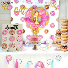 Cyuan Baby Birthday Decoration Donut Doughnut Theme Party Supplies Acrylic Stand and Wooden Wall Display Board for Child