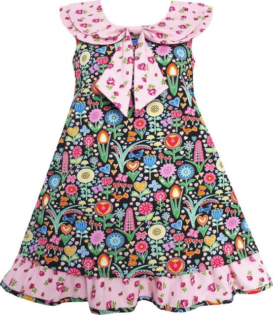 Sunny Fashion Flower Girl Dress Bow Tie Pink Floral Turn-Down Collar and Trim Cotton 2017 Summer Princess Wedding Size 4-10
