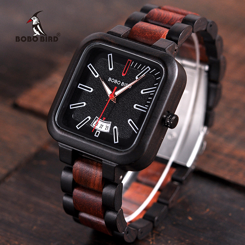 relogio masculino BOBO BIRD Wooden Watch Men New Luxury Design Quartz Watch Mens Great Gift Wristwatches in Wood Box V-R09 bobo bird m29 mens watch red sandalwood analog wooden quartz watch with luxury watch famous brand in gift box free shipping