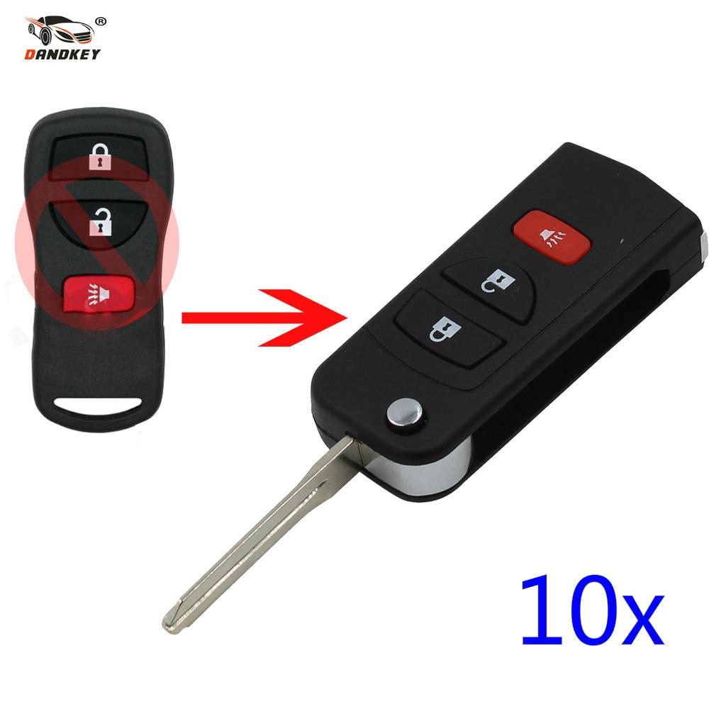 Coque de clé à distance 10x3 boutons DANDKEY pour Nissan Livina x-trail Gennis Tiida Sylphy Infiniti Xterra Frontier Muranon